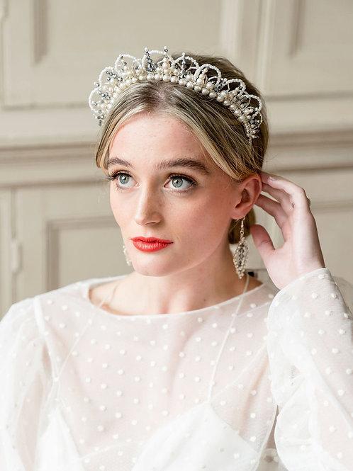 KIRA    Silver and pearl crystal crown
