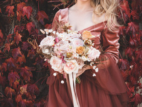 Flaming Fall - How to wear a coloured wedding dress on your wedding day.