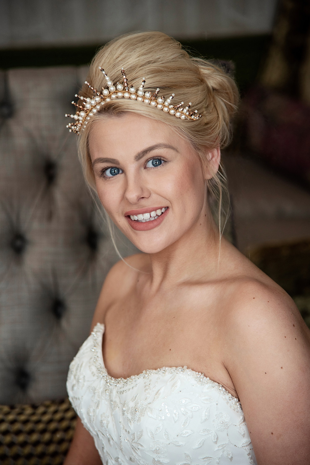 Classic Wedding Up Do. Bridal Up Do. Modern Tiara. Wedding hair accessories form Glorious by Heidi Cheshire