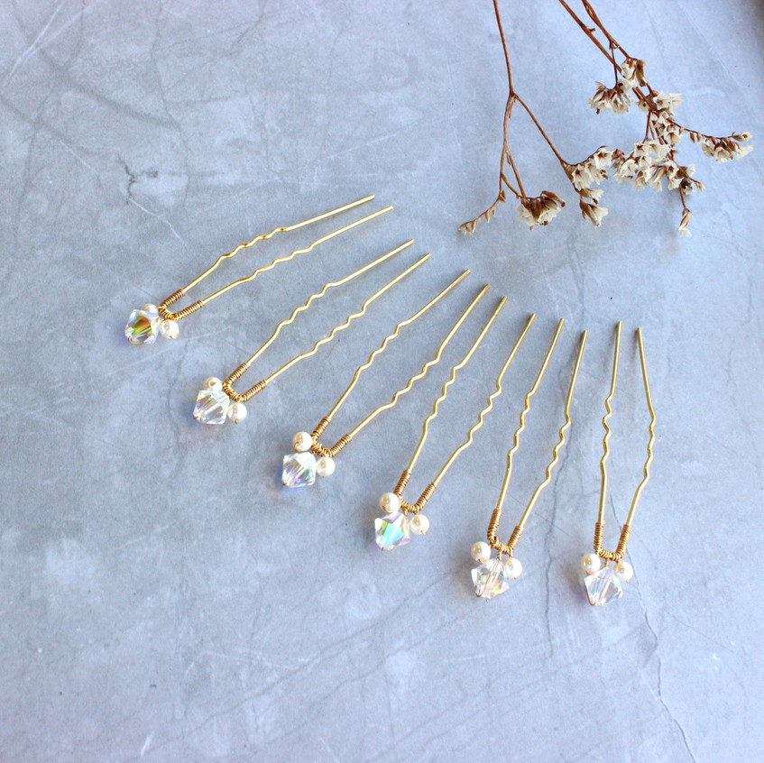 Set of six crystal bridal hair pins