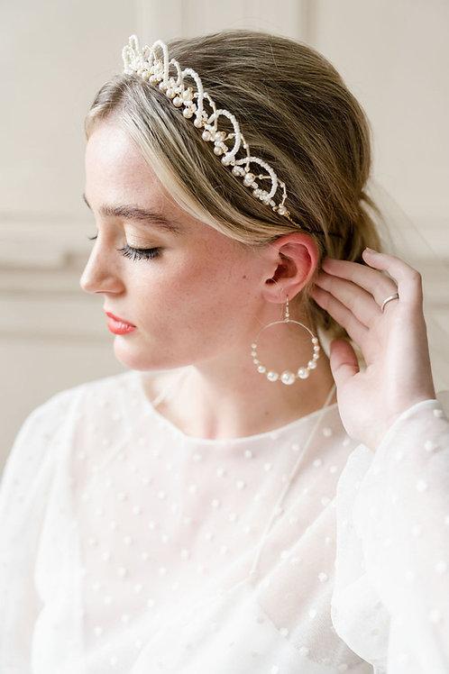 Pearl hoop bridal earrings