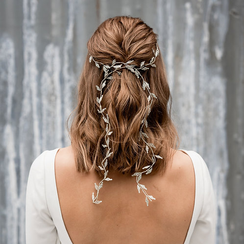 Willow || Romantic Extra Long Silver Bridal Hair Vine
