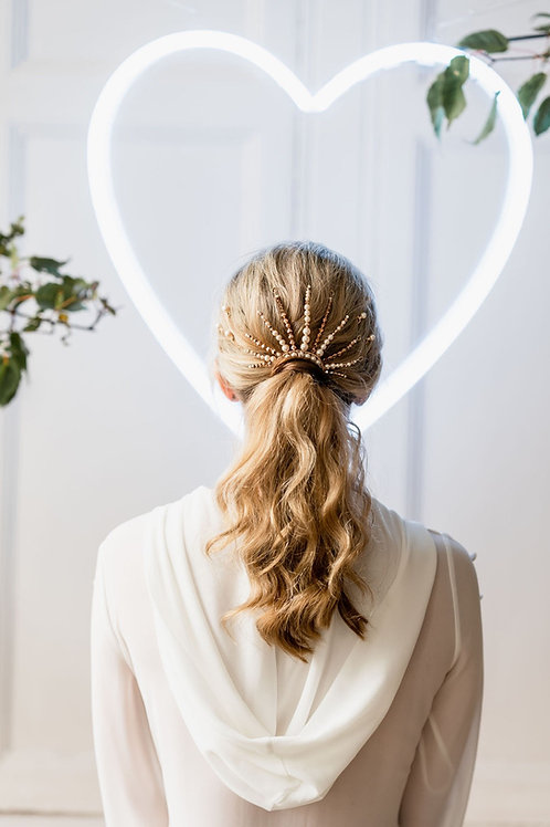SUNNY || Gold crystal and pearl ponytail accessory