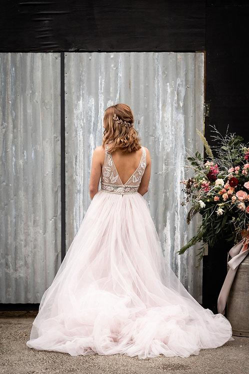 Ava || Blush Pink Rose Gold Wedding Hair Vine