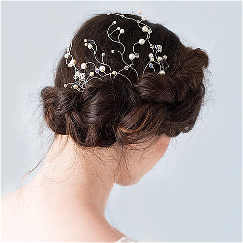 Pretty Crystal and Pearl Wedding Hair Comb Cheshire