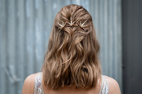 Amina || Gold and Ivory Hair Pins x 3