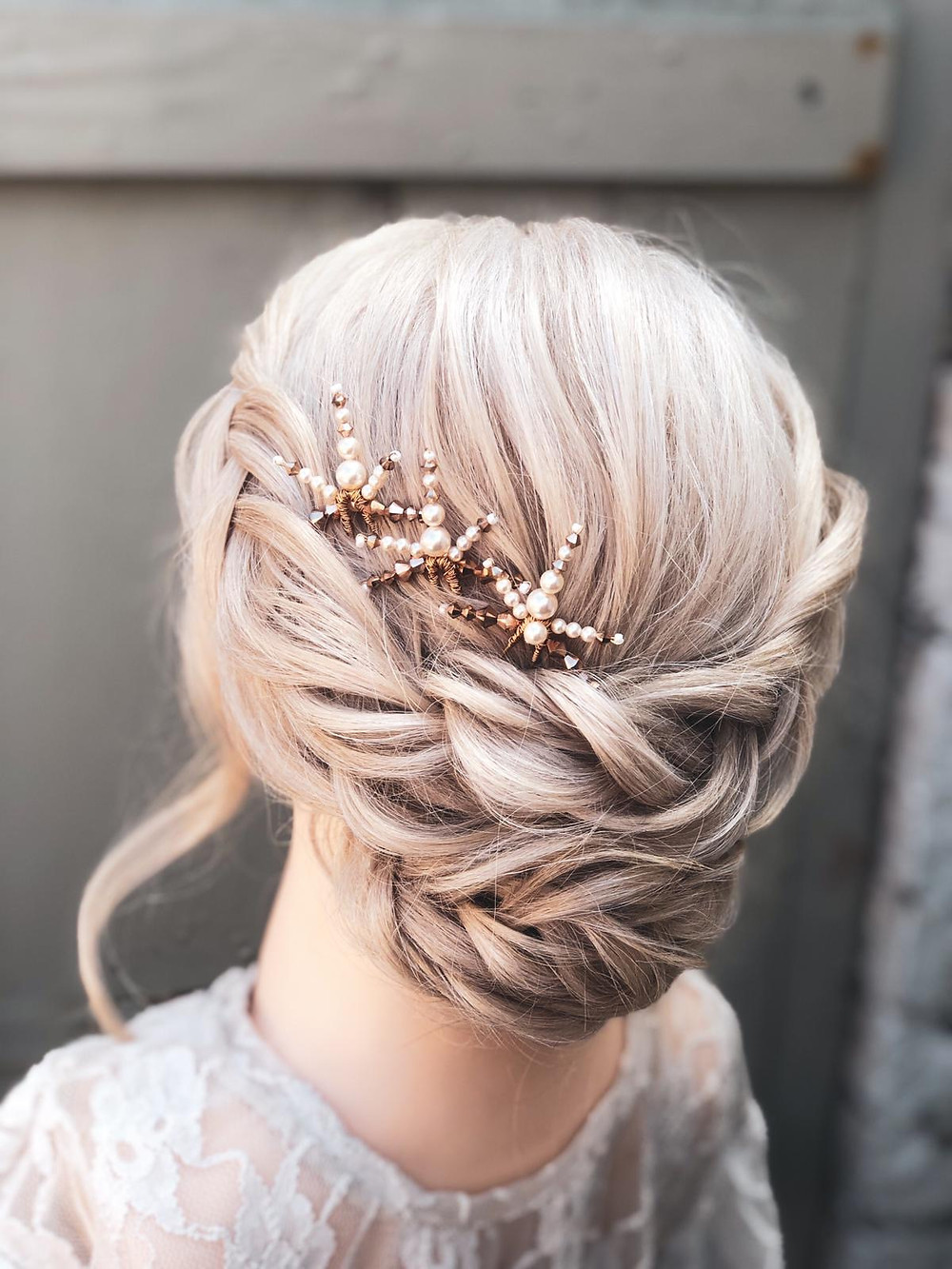 Gold and pearl wedding hair pins from Glorious by Heidi. Cheshire wedding accessories. Cheshire bridal accessories