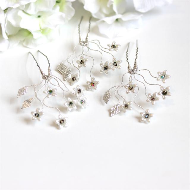 Honesty Bridal Ivory Flower Hair Pins by
