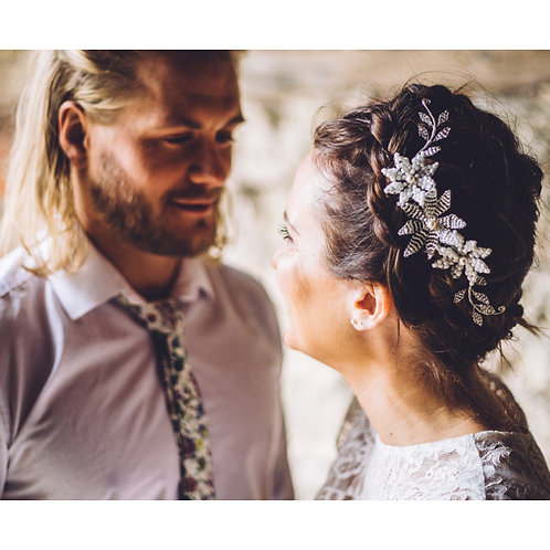 Romantic Silver and White Flowers Wedding Hair Accessory