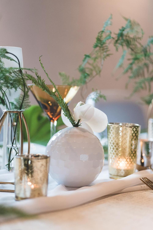 Wedding Table Decor Metallics and Ferns