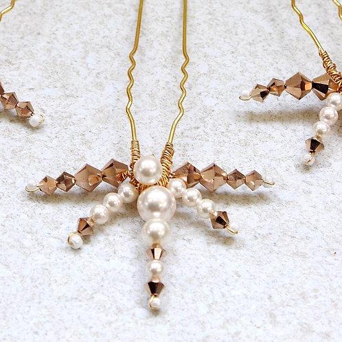 Amina || Gold and ivory bridal hair pin