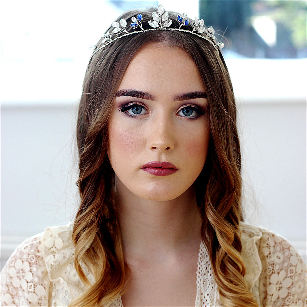Sapphire and crystal bridal headpiece