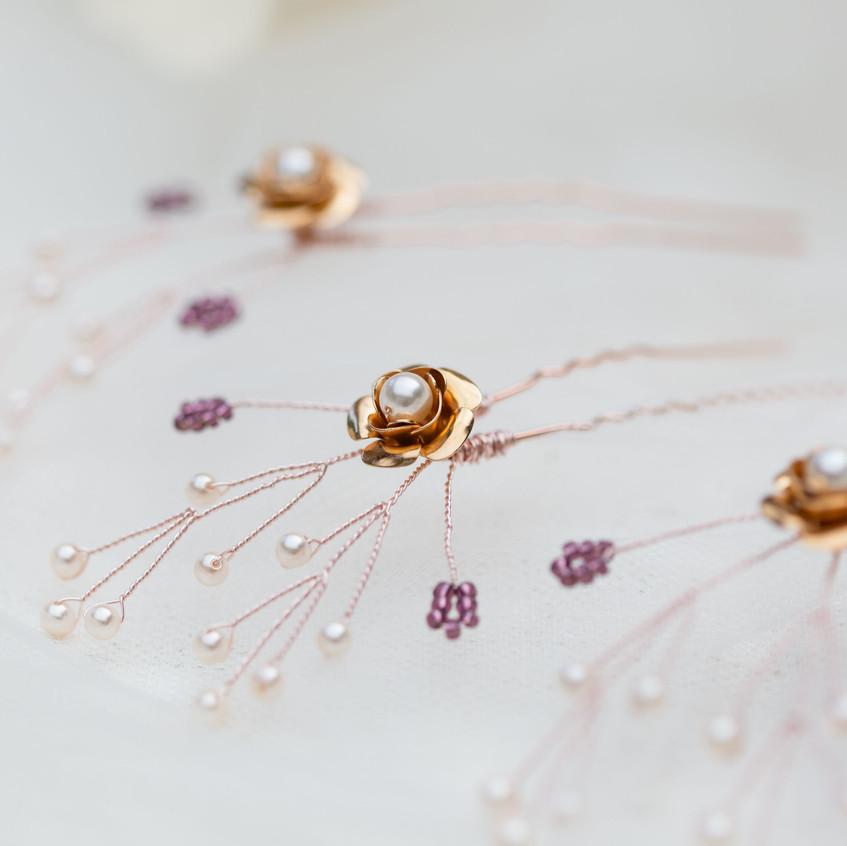 Bronze and plum wedding hair pins