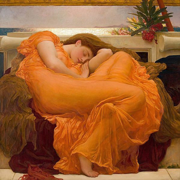 Pre-Raphaelite painting Flaming June by Lord Frederick Leighton