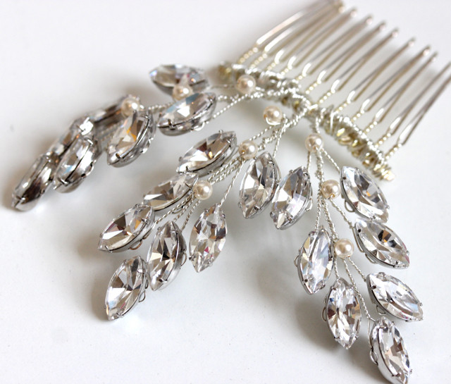 Small crystal wedding hair comb wedding hair accessories cheshire
