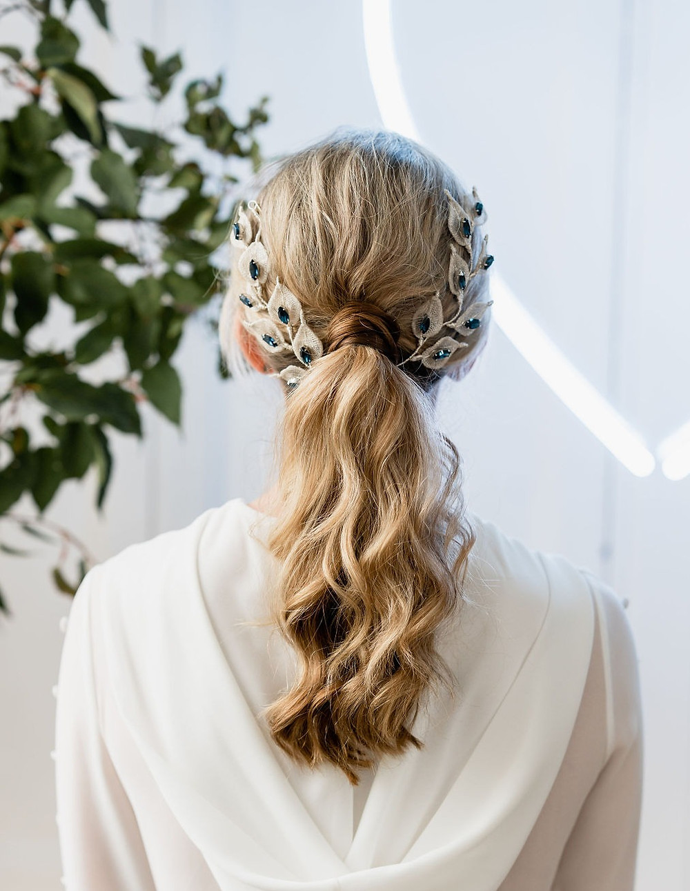 Silver and sapphire wedding bridal ponytail accessories