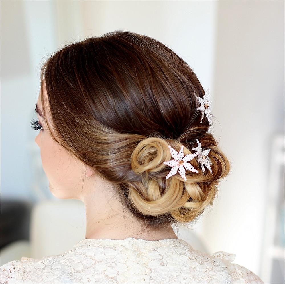 Pretty flower hair pins. Wedding hair pins. Wedding hair accessories Glorious by Heidi Cheshire
