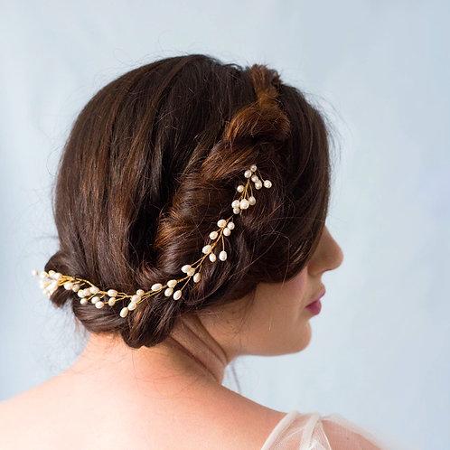 Greta Fresh Water Pearl Wedding Hair Vine