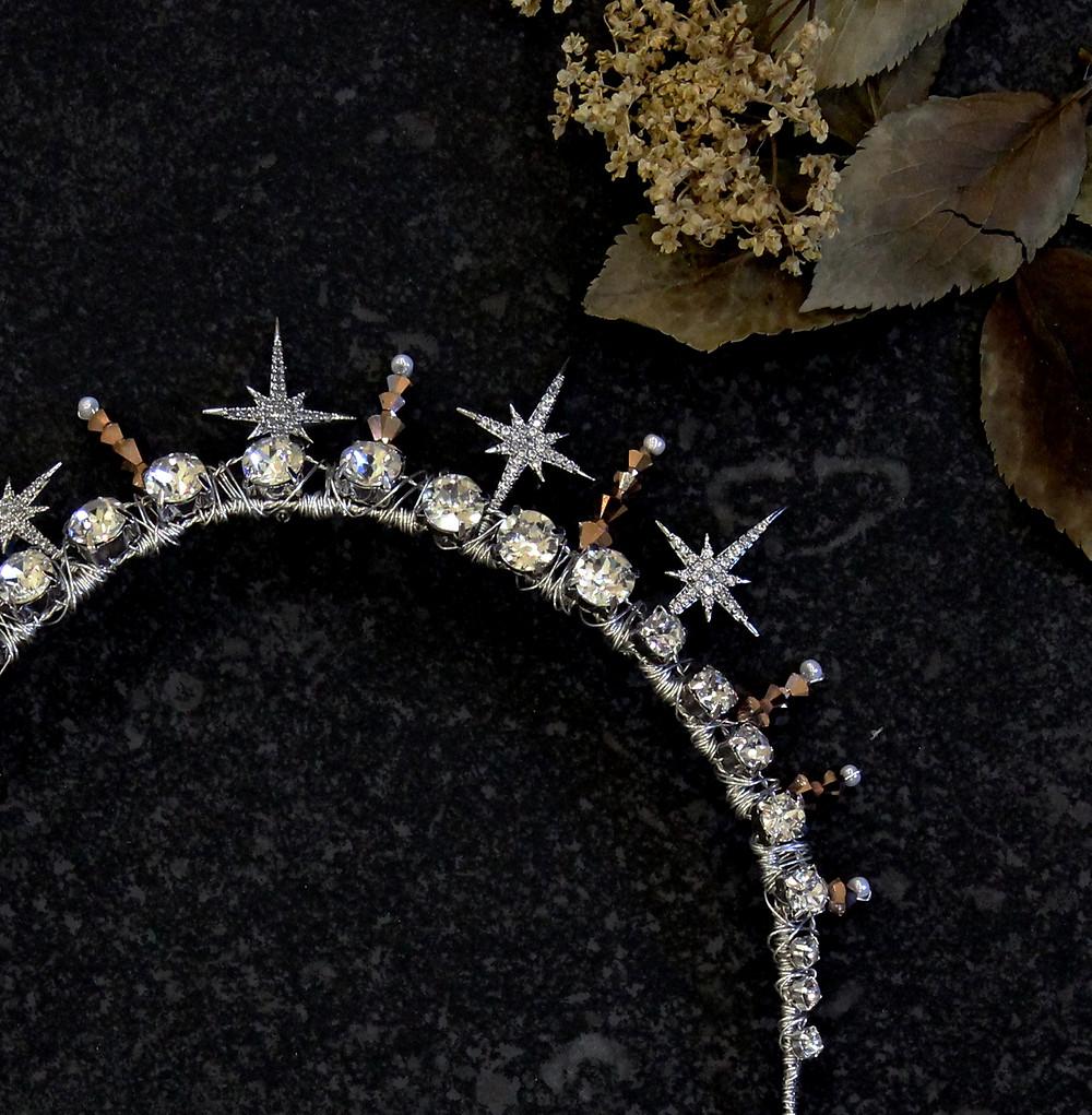 Contemporary bridal crown. Bridal crown. Celestial bridal crown