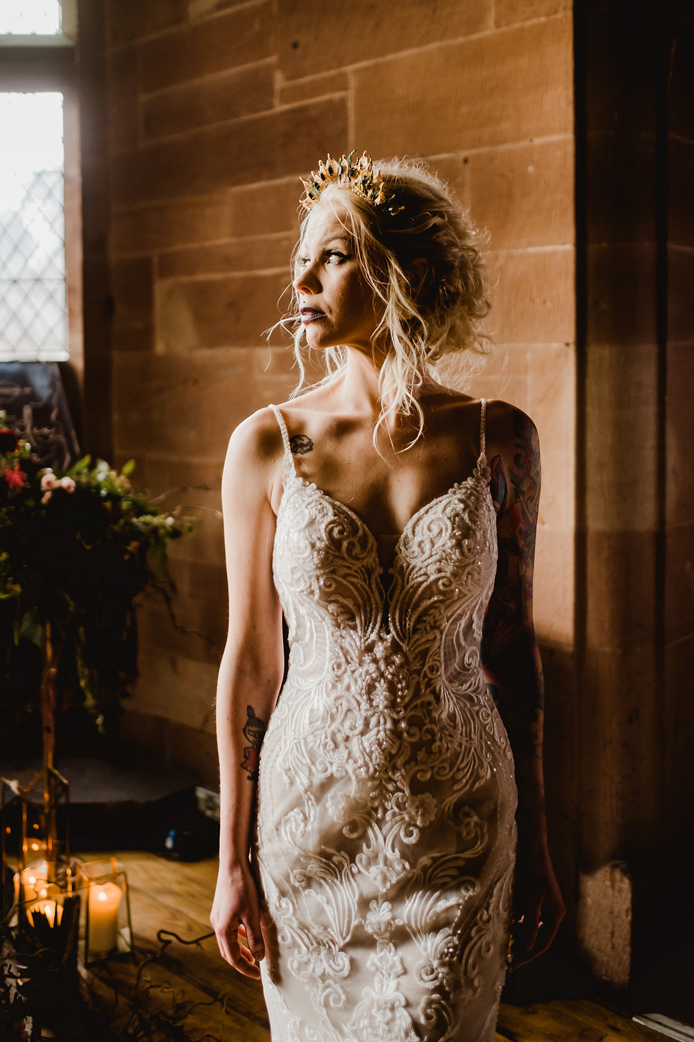 Essence of Australia lace wedding dress from Cheadle Bride, Cheshire. Castle wedding. Cheshire wedding accessories. Gold wedding crown. Statement headpiece from Glorious by Heidi