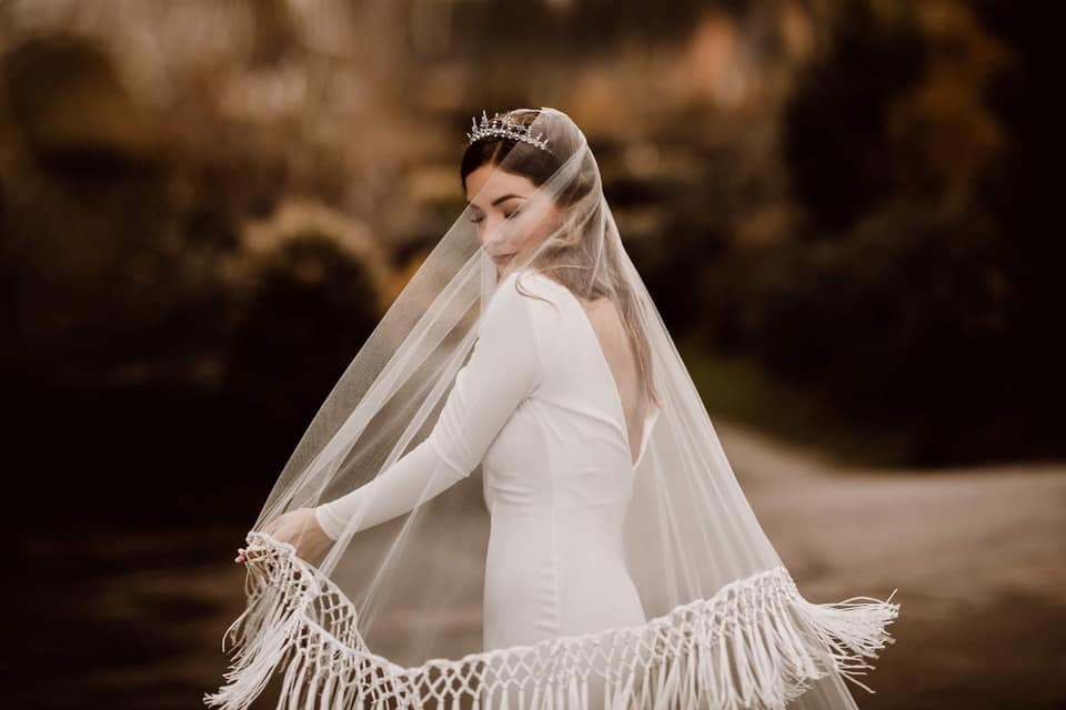 Autumn bride. Contemporary bride. Bespoke bridal crown. Celestial crown. Wedding crown with stars.