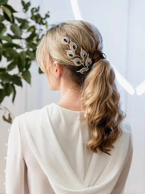 Glorious by Heidi handcrafted luxe bridal accessories made in Cheshire, UK. Silver and sapphire bridal hair accessories.