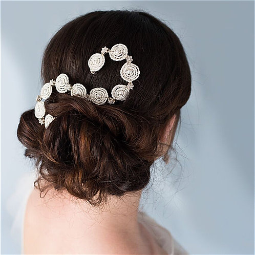 Boho Bride Ivory and Diamante Bridal Hair Comb Cheshire