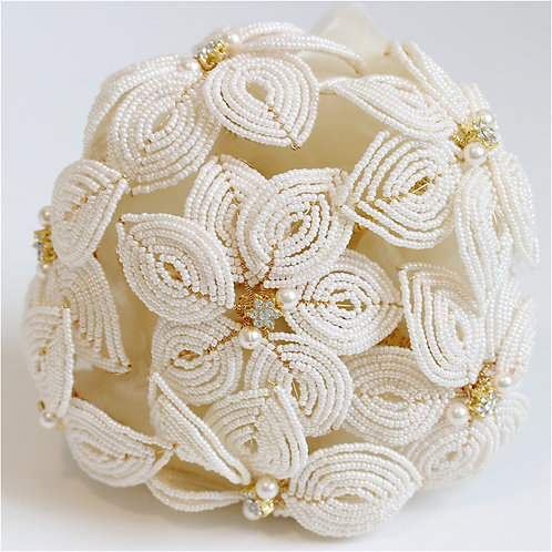 Everlasting Vintage Style Hand-Beaded, Ivory, and Gold Diamante Bridal Bouquet