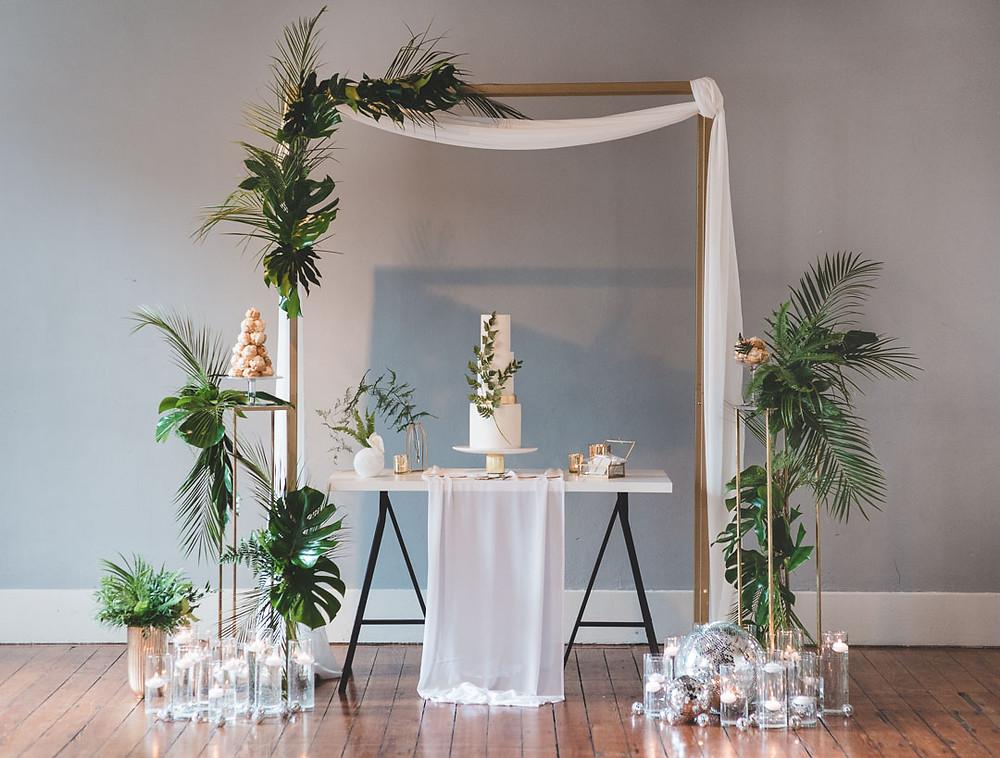 Fern and Monsterra Wedding Florals