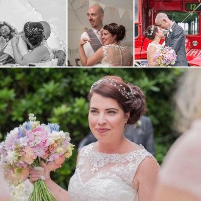 Real UK bride wearing Glorious by Heidi wedding hair vine