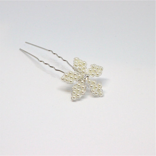 Ivory Pearl and crystal Flower Wedding Hair Pin