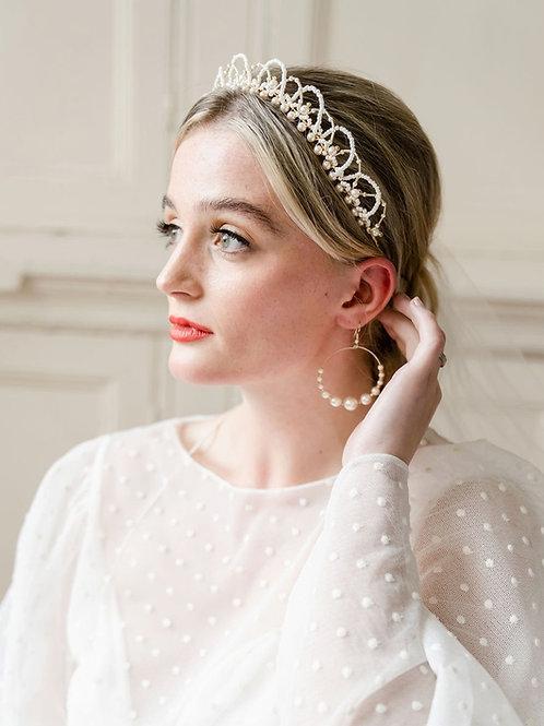 Pearl tiara. Pearl crown. Pearl headpiece. Bridal Crown. Wedding Crown. Cheshire bridal accessories.