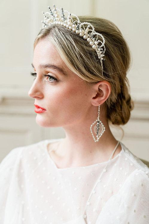 Modern geometric silver crystal earrings. Glorious by Heidi Cheshire Wedding Accessories