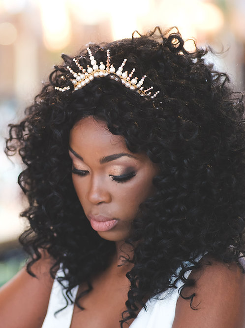 Amina || Gold and Pearl Modern Wedding Tiara