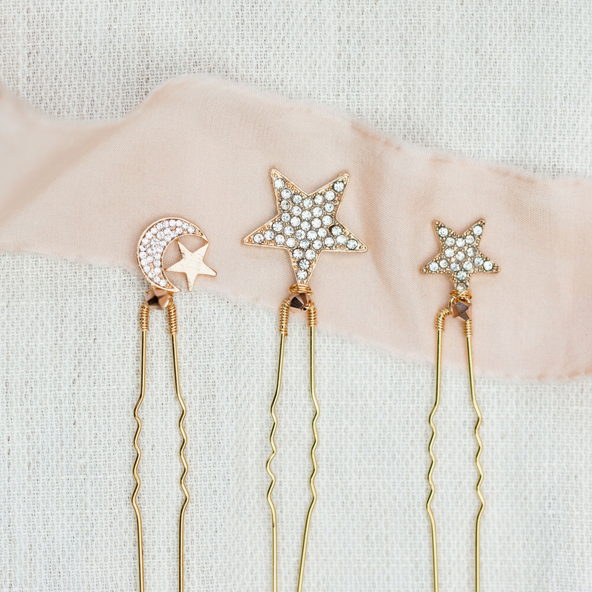 Celestial stars and moons hair pins