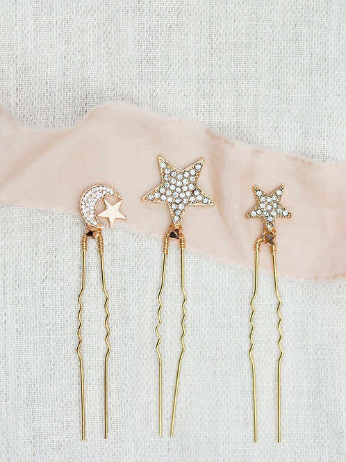 gold stars and moons hairpins cheshire wedding accessories