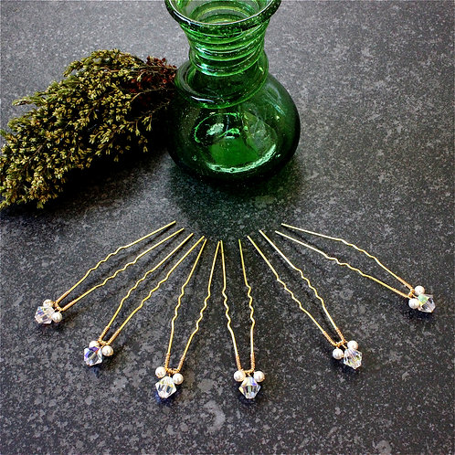 Crystal Hair Pins x 6
