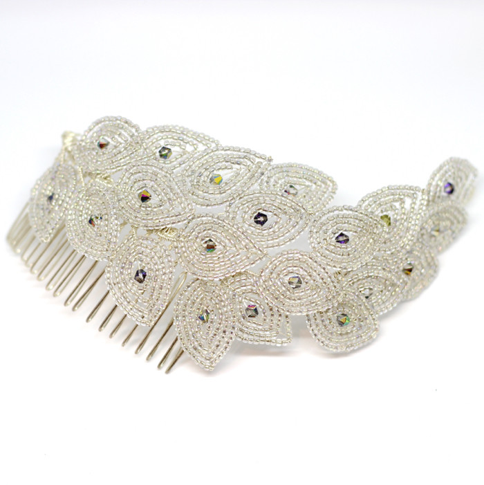 Beaded Peacock Bridal 1920s vintage style hair comb. Wedding accessories Cheshire