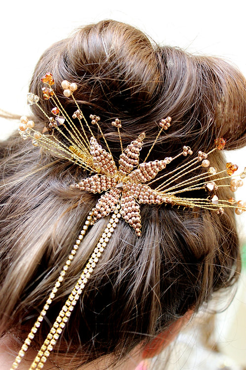 Stunning Gold and Amber Bridal Hair Comb Cheshire