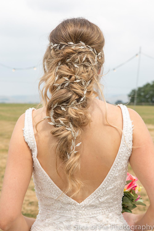 Bridal braided hairstyle long silver hair vine Glorious by Heidi wedding hair accessories cheshire