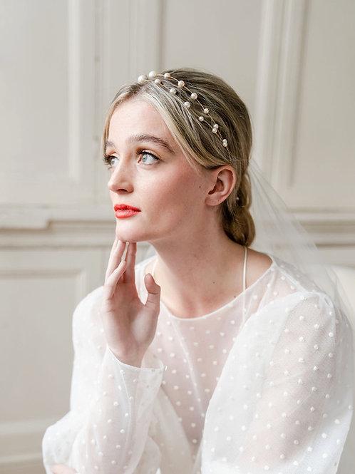 Pearl double strand wedding headband cheshire wedding accessories