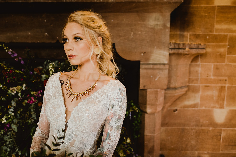 Cheshire wedding accessories. Cheshire bridal accessories. Gold wedding crown. Gold wedding neckpiece. Medieval wedding styling. Glorious by Heidi
