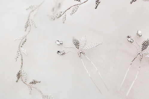 Willow || Swarovski crystal and hand beaded leaves hair pin
