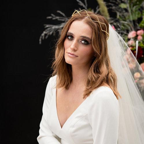 Mia    Simple Gold Crystal Wedding Halo