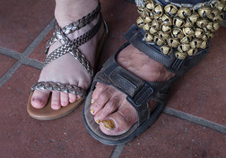 On their feet