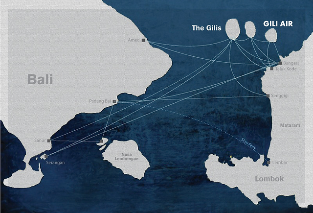 Map of fast boat routes from Bali to Gili Air