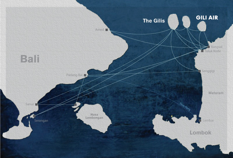 Map of fast boat route to Gili Air
