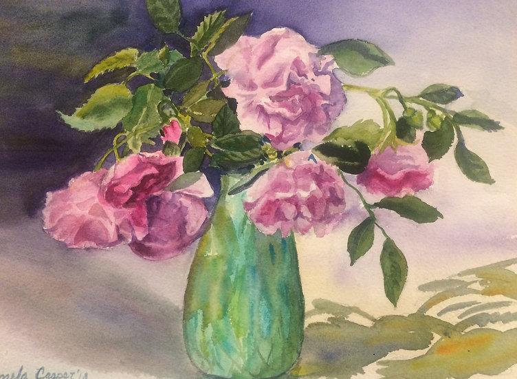 Climbing Roses, Green Vase