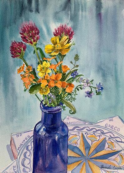 Wildflowers in Blue Bottle