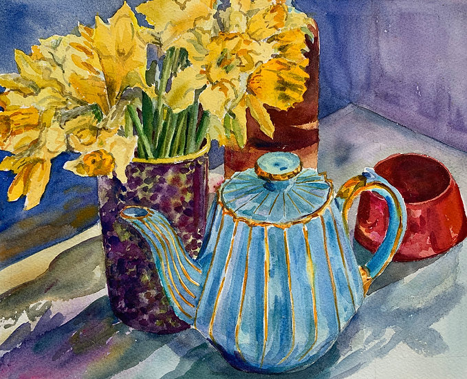 Blue  Teapot with Narcissus